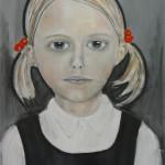 meisje(3) - 2011 acryl en houtskool op doek 70x100cm
